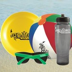 Clear Water Bottle, Flying Disc and Sunglasses Beach Kit