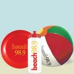 Sports Bottle Beach Kit with Flying Disc and Beach Ball