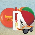 Sports Bottle Beach Kit - Beach Ball, Flying Disc and Sunglasses