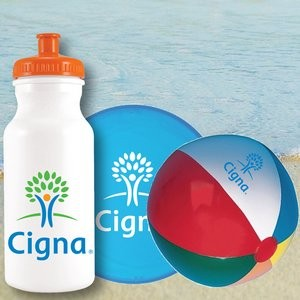 Sports Bottle Beach Kit Jr with Mini Beach Ball and Flying Disc