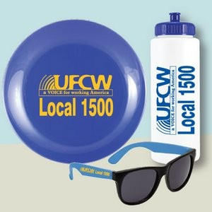 3 Piece Beach Kit with Water Bottle, Flying Disc and Sunglasses