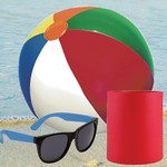 Custom Foam Can Cooler, Promotional Sunglasses and Beach Ball Set