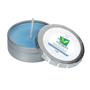 Exhale Essential Oil Infused Soy Wax Candle Small Push Tin Silver