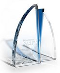 Clear Optic Crystal Award with Sapphire Crystal Accent