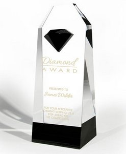 Optic Crystal Award with Black Crystal Accent