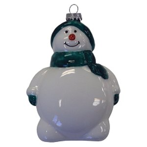 Snowman Glass Ornament - Green with Multi-Color Imprint