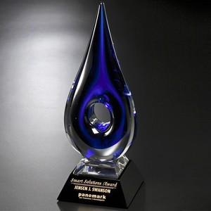 Blue Teardrop Art Glass Award 14 in.