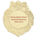 Golden Wreath Shape Christmas Ornament