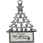 Pewter Finish Cast Christmas Tree Ornament