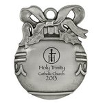 Pewter Finish Cast Ball Shaped Ornament Customized