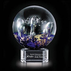 Serendipity Art Glass Award on Clear Base - 6.25 in. Diam