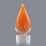 Aventura Art Glass Award on Clear Glass Base