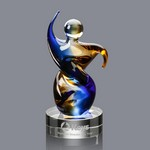 Genesis Art Glass Award on Clear Glass Base