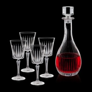 Bacchus Decanter and 4 Wine Glasses Engraved