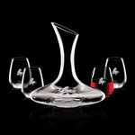Madagascar Carafe and 4 Stemless Wine Glasses Engraved