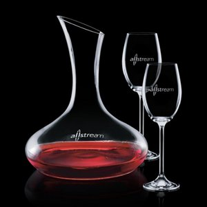 Cimarron Carafe and 2 Wine Glasses Engraved