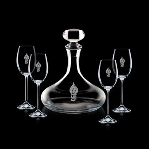 Stratford Decanter and 4 Wine Glasses Engraved