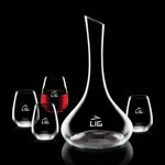 Celina Carafe and 4 Stemless Wine Glasses Engraved