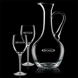 Deane Carafe and 2 Wine Glasses Engraved