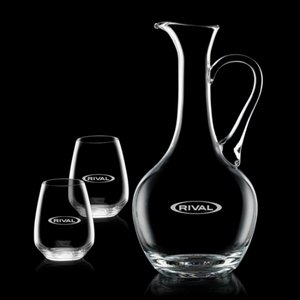 Deane Carafe and 2 Stemless Wine Glasses Engraved