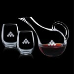 Medford Carafe and 2 Stemless Wine Glasses Engraved