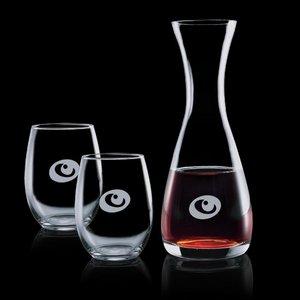 Bishop Carafe and 2 Stemless Wine Glasses Engraved