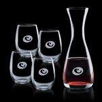 Bishop Carafe and 4 Stemless Wine Glasses Engraved