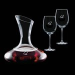 Edenvale Carafe and 2 Wine Glasses Engraved Glasses