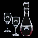Carberry Decanter and 2 Wine Glasses Engraved Glasses