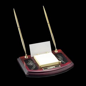 Ashcroft Desk Organizer - Rosewood with Gold Pens