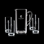 Rexdale Pitcher and 4 Hiball Glasses Engraved