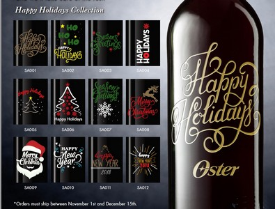 Holiday Engraved Sparkling Wine/Champagne 750 ML with 1 color