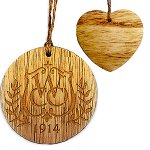 Rustic Wooden Heart Shape Ornament - Laser Engraved
