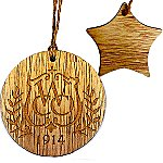 Rustic Wooden Star Shape Ornament - Laser Engraved