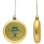 Flat Christmas Ornament - Round Shatter Resistant - Gold
