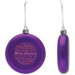 Flat Christmas Ornament - Round Shatter Resistant - Purple