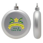 Flat Christmas Ornament - Round Shatter Resistant - Silver