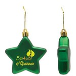 Flat Christmas Ornament - Star Shape Shatter Resistant - Green