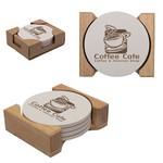 Round Coaster Set of 4 in Wooden Holder