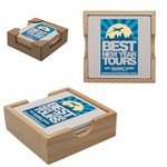 Square Coaster Set of 4 in Wooden Holder