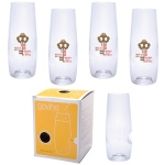 Govino®  Champagne Flute with Custom Imprint - 4 Pack Boxed
