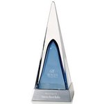 Art glass on Aluminum Base Blue Pyramid - Large