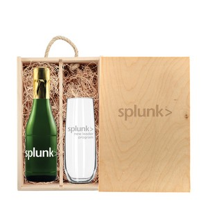 Rustic Laser Engraved Box w/Custom Etched Mini Sparkling and Flut