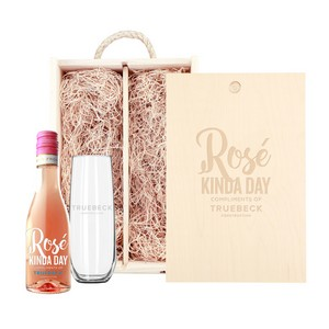 Rustic Laser Engraved Box w/Custom Etched Mini Rose Wine and Glas