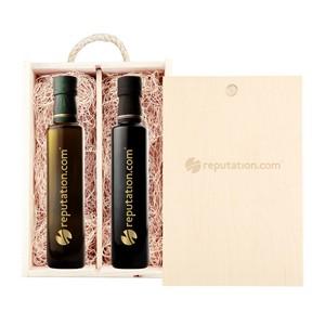 Rustic Laser Engraved Wood Box with Custom Etched Vinegar & Olive