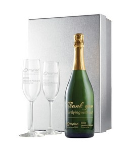 Etched Champagne w/ 1 Color Fill, Custom Neck Label, 2 Etched Flu