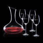 Cimarron Carafe and 4 Wine Glasses Engraved