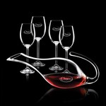 Reyna Carafe and 4 Wine Glasses Engraved