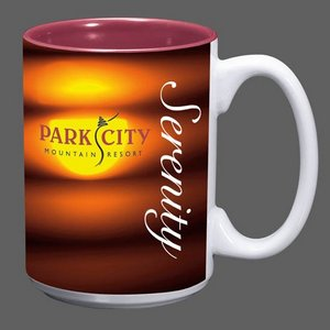Sublimated Full Color Design Coffee Mug - 15oz Burgundy