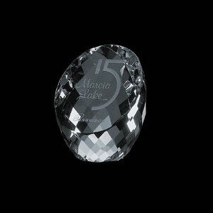 Danbury Slanted Optical Crystal Award Paperweight 3.5 in.